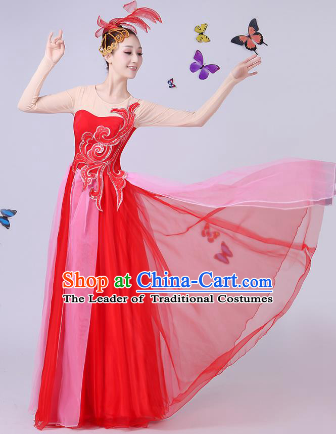 Traditional Chinese Modern Dance Opening Dance Clothing Chorus Folk Umbrella Dance Red Dress for Women