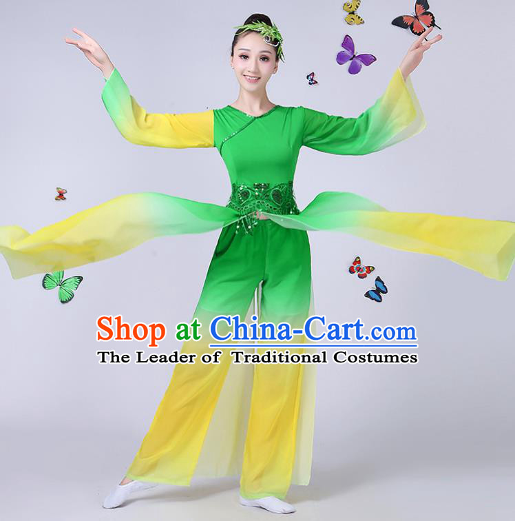Traditional Chinese Classical Umbrella Dance Costume, China Yangko Folk Fan Dance Green Clothing for Women
