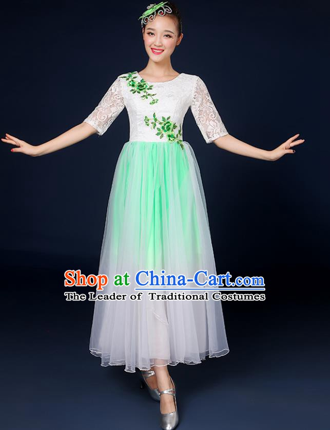 Traditional Chinese Modern Dance Opening Dance Clothing Chorus Classical Dance Lace Green Dress for Women