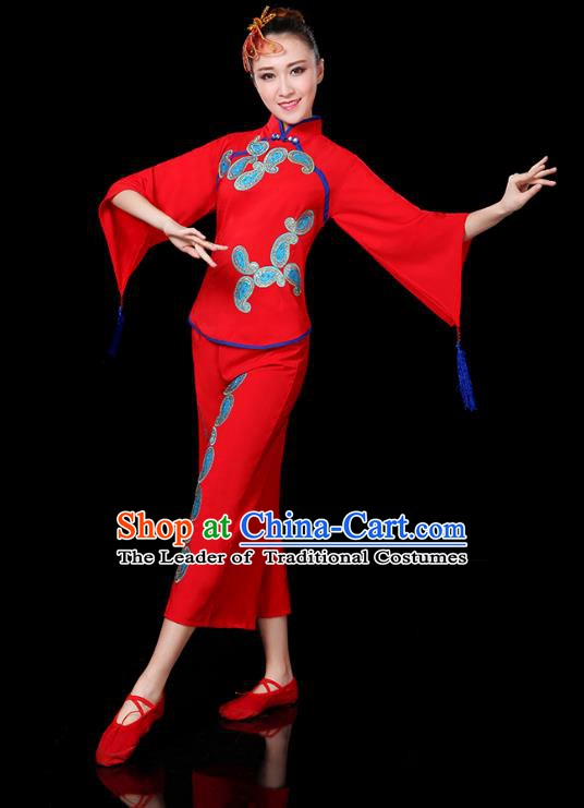 Traditional Chinese Yangge Fan Dance Red Uniform, China Classical Folk Yangko Drum Dance Clothing for Women