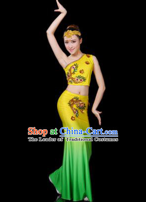 Traditional Chinese Dai Nationality Peacock Dance Costume Folk Dance Pavane Yellow Clothing for Women
