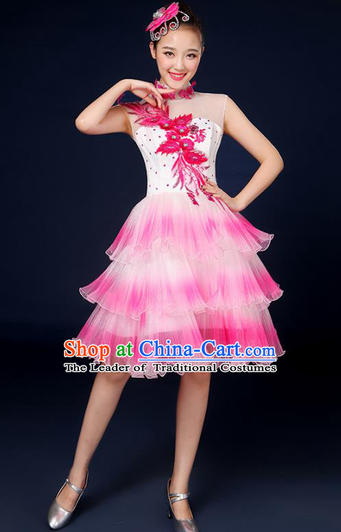 Traditional Chinese Modern Dance Opening Dance Clothing Chorus Classical Dance Pink Bubble Dress for Women