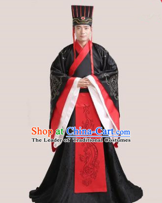 Traditional Chinese Han Dynasty Bridegroom Wedding Costume and Hat Complete Set for Men