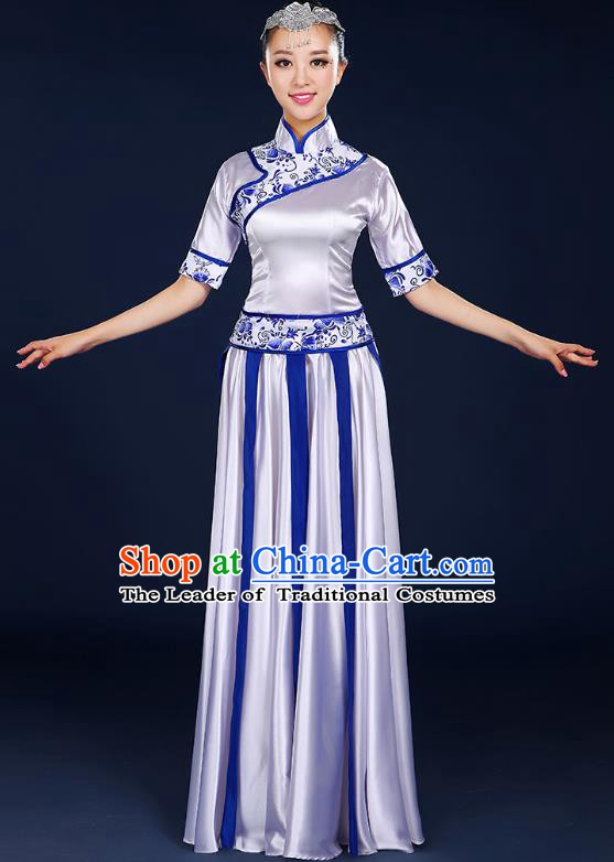 Traditional Chinese Modern Dance Opening Dance Clothing Chorus Classical Dance White Dress for Women