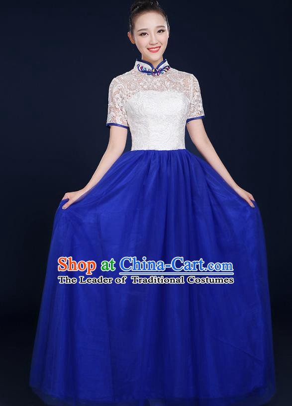 Traditional Chinese Modern Dance Opening Dance Lace Clothing Chorus Classical Dance Blue Dress for Women