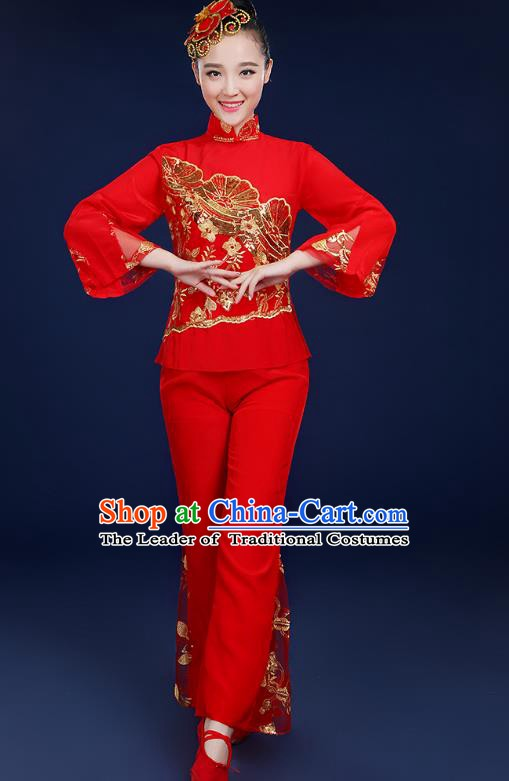 Traditional Chinese Folk Fan Dance Classical Dance Red Uniform, China Yangko Drum Dance Clothing for Women