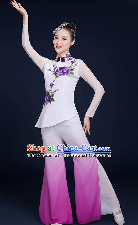Traditional Chinese Folk Fan Dance Classical Dance Purple Uniform, China Yangko Drum Dance Clothing for Women