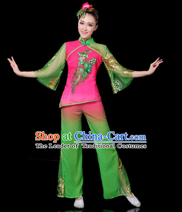 Traditional Chinese Yangge Fan Classical Dance Green Uniform, China Folk Yangko Drum Dance Clothing for Women