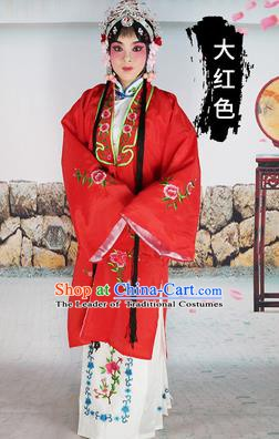 Chinese Beijing Opera Actress Costume Red Embroidered Cape, Traditional China Peking Opera Diva Embroidery Clothing