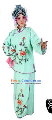 Chinese Beijing Opera Actress Embroidered Peony Costume, China Peking Opera Servant Girl Embroidery Green Clothing