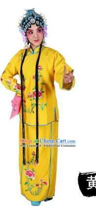 Chinese Beijing Opera Actress Embroidered Peony Costume, China Peking Opera Servant Girl Embroidery Yellow Clothing