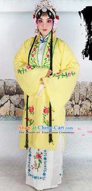 Chinese Beijing Opera Actress Costume Yellow Embroidered Cape, Traditional China Peking Opera Diva Embroidery Clothing