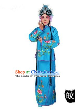 Chinese Beijing Opera Servant Girl Embroidered Blue Costume, China Peking Opera Actress Embroidery Clothing