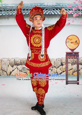 Chinese Beijing Opera Takefu Embroidered Red Costume, China Peking Opera Soldier Embroidery Clothing
