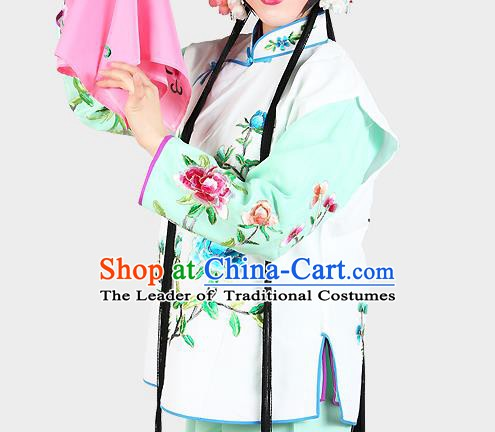 Chinese Beijing Opera Servant Girl Costume Embroidered White Vest, China Peking Opera Actress Embroidery Waistcoat Clothing