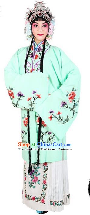 Chinese Beijing Opera Actress Embroidered Peony Costume, Traditional China Peking Opera Diva Embroidery Light Green Clothing