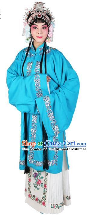 Chinese Beijing Opera Actress Costume Blue Embroidered Cape, Traditional China Peking Opera Nobility Lady Embroidery Clothing