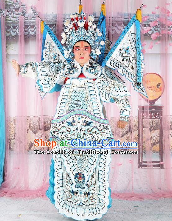 Chinese Beijing Opera General Costume White Embroidered Robe, China Peking Opera Embroidery Gwanbok Clothing