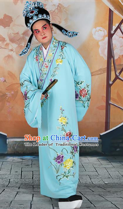 Chinese Beijing Opera Niche Embroidered Blue Costume, China Peking Opera Young Men Embroidery Robe Clothing
