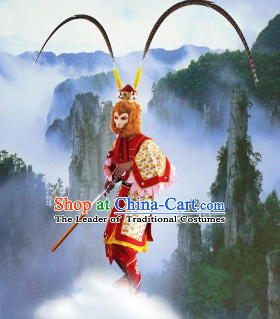 Chinese Beijing Opera Journey to the West Handsome Monkey King Costume, China Peking Opera Sun Wu-Kong Clothing