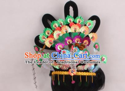 Asian Chinese Beijing Opera Imperial Princess Hair Accessories and Wig, Traditional China Peking Opera Actress Headwear