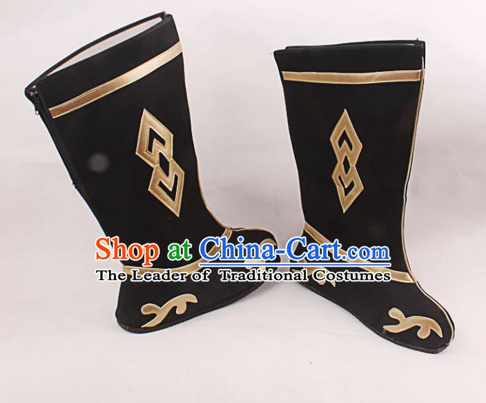 Asian Chinese Beijing Opera Takefu Black Embroidered Shoes, Traditional China Peking Opera Young Men Hanfu Boots