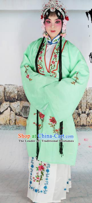 Chinese Beijing Opera Actress Nobility Lady Embroidered Green Costume, China Peking Opera Diva Embroidery Clothing
