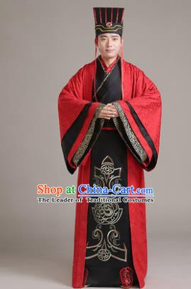 Traditional Chinese Han Dynasty Emperor Wedding Costume, China Ancient Bridegroom Embroidered Hanfu Clothing for Men
