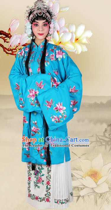 Chinese Beijing Opera Actress Embroidered Magnolia Blue Costume, China Peking Opera Diva Embroidery Clothing
