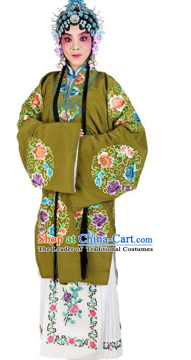 Chinese Beijing Opera Actress Embroidered Peony Flowers Green Costume, China Peking Opera Diva Embroidery Clothing