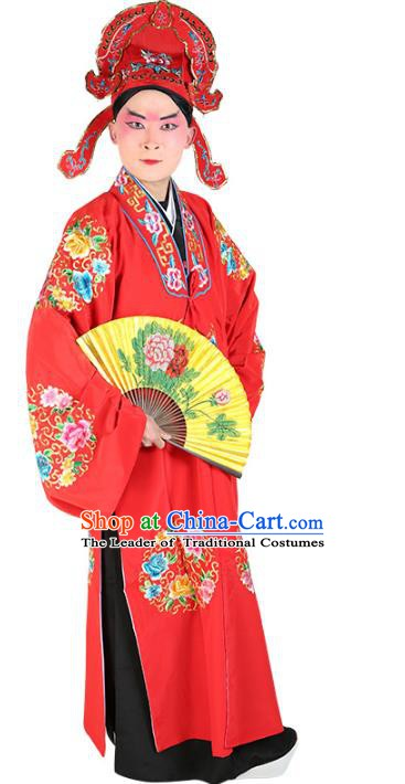 Chinese Beijing Opera Young Men Costume Red Embroidered Robe, China Peking Opera Scholar Clothing