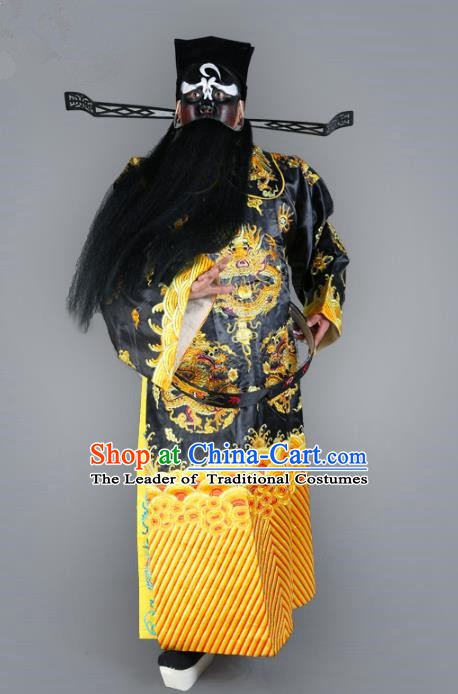 Chinese Beijing Opera Royal Highness Costume Dragons Embroidered Robe, China Peking Opera Prime Minister Black Gwanbok Clothing