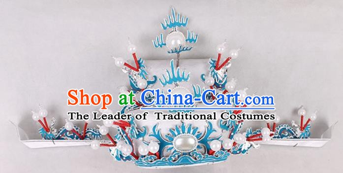 Asian Chinese Beijing Opera Prime Minister White Hat, Traditional China Peking Opera Royal Highness Hats Headwear