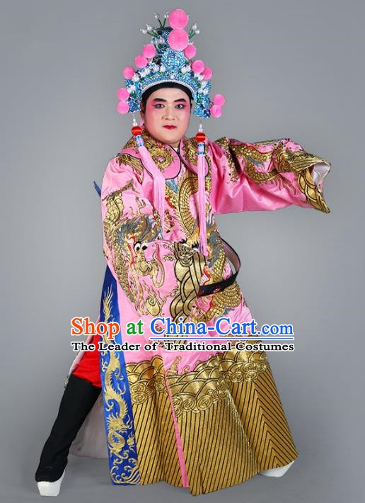 Chinese Beijing Opera Bao Zheng Costume Pink Embroidered Robe, China Peking Opera Prime Minister Embroidery Dragon Gwanbok Clothing