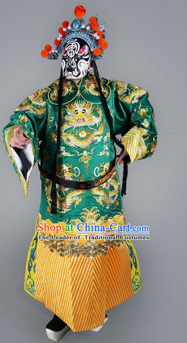 Chinese Beijing Opera Prime Minister Costume Green Embroidered Robe, China Peking Opera Embroidery Dragon Gwanbok Clothing