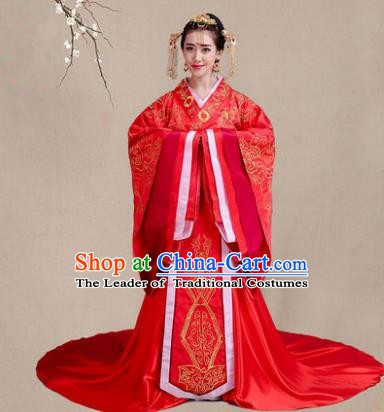 Traditional Chinese Han Dynasty Princess Wedding Red Costume, China Ancient Palace Bride Hanfu Embroidered Clothing for Women