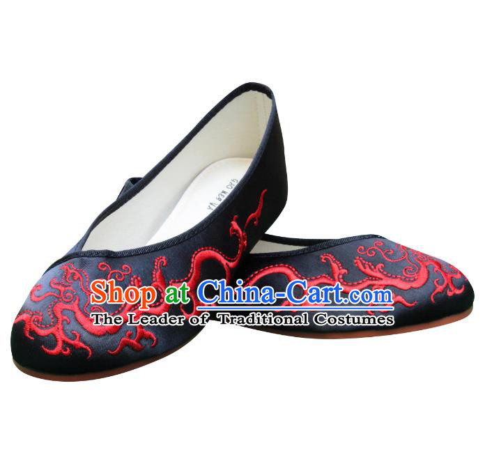 Traditional Chinese National Bride Black Satin Embroidered Shoes, China Handmade Embroidery Hanfu Slippers for Women