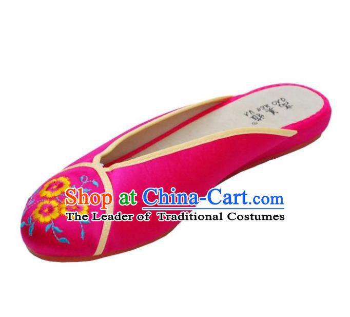 Traditional Chinese National Bride Rosy Embroidered Slippers, China Handmade Embroidery Flowers Hanfu Shoes for Women