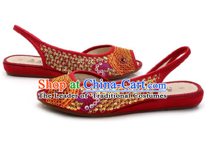 Traditional Chinese National Bride Red Paillette Embroidered Sandal, China Handmade Embroidery Flowers Peep-toe Shoes for Women