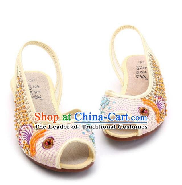 Traditional Chinese National Bride Beige Paillette Embroidered Sandal, China Handmade Embroidery Flowers Peep-toe Shoes for Women