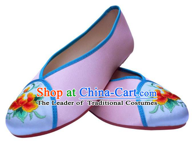 Traditional Chinese National Bride Light Purple Embroidered Shoes, China Handmade Embroidery Flowers Hanfu Shoes for Women