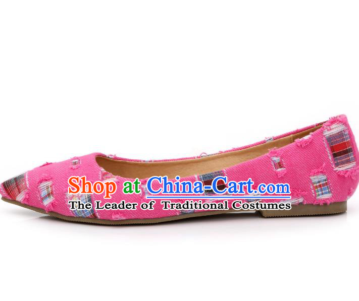 Traditional Chinese National Bride Pink Canvas Shoes, China Handmade Embroidery Hanfu Shoes for Women