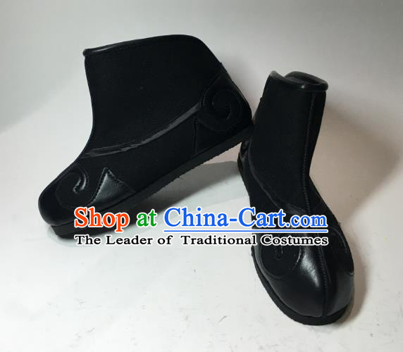 Traditional Handmade Chinese Peking Opera Takefu Boots Hanfu Embroidery Black Shoes for Men