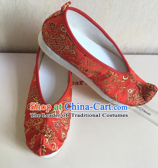 Traditional Chinese Ancient Han Dynasty Princess Embroidered Red Xiuhe Suit Blood Stained Shoes, China Handmade Hanfu Embroidery Wedding Shoes for Women