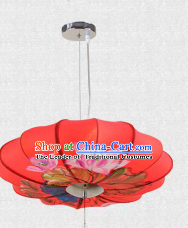 Traditional Chinese Handmade Painting Lotus Red Cloth Palace Lantern China Ceiling Palace Lamp