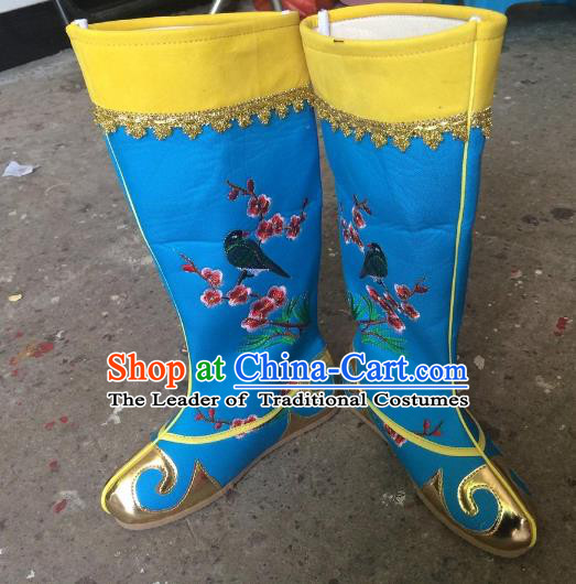 Traditional Chinese Ancient Peking Opera Emperor Embroidered Boots, China Handmade Hanfu Blue Embroidery Shoes for Men