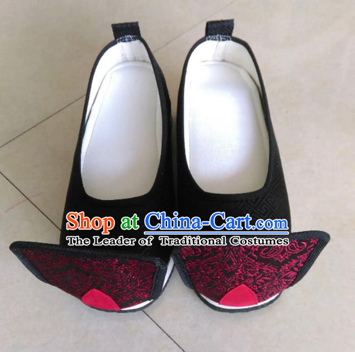 Traditional Chinese Ancient Han Dynasty Bridegroom Black Cloth Embroidered Shoes, China Handmade Hanfu Wedding Embroidery Shoes for Men