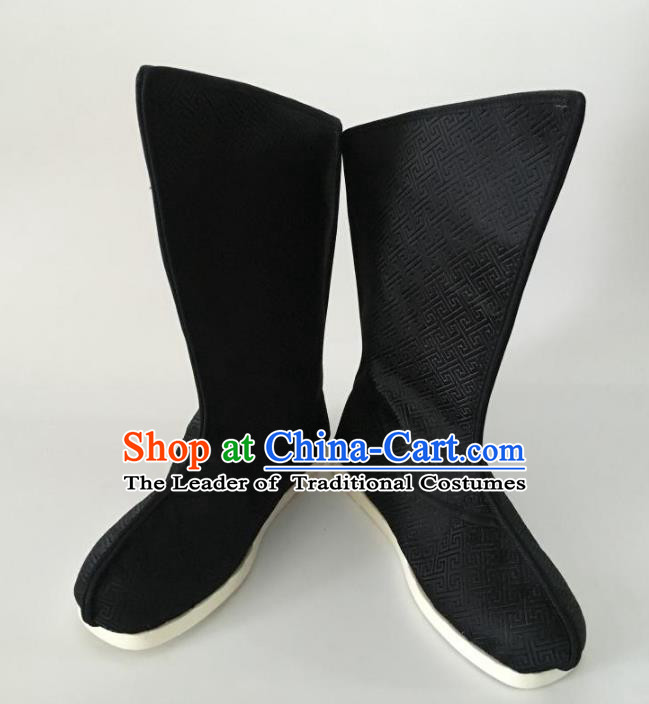 Traditional Chinese Han Dynasty Black Embroidered Boots, China Handmade Ancient Swordsman Hanfu Shoes for Men