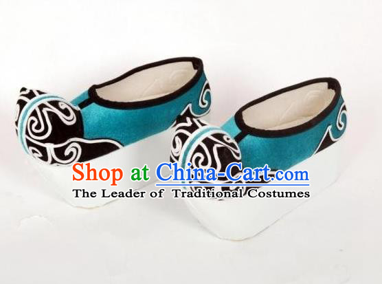 Traditional Chinese Ancient Peking Opera Niche Embroidered Shoes, China Handmade Hanfu Blue Embroidery Shoes for Men