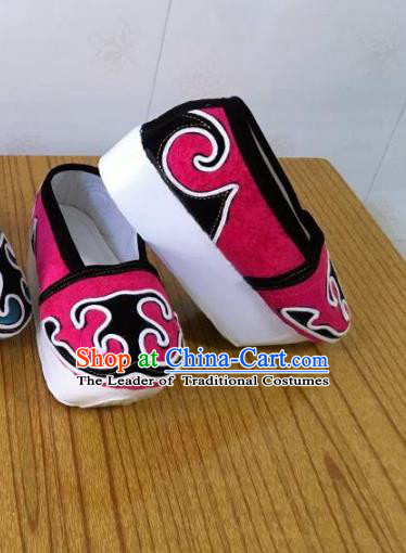 Traditional Chinese Ancient Niche Pink Shoes, China Peking Opera Handmade Hanfu Shoes for Men
